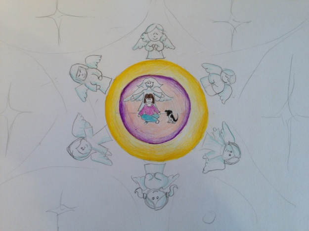 Little Me with my childhood dog- Sam in the centre of the bubbles. My guardian angel behind me. The bubbles are my aura, which is gold and purple- protective colours. Protective angels surround.